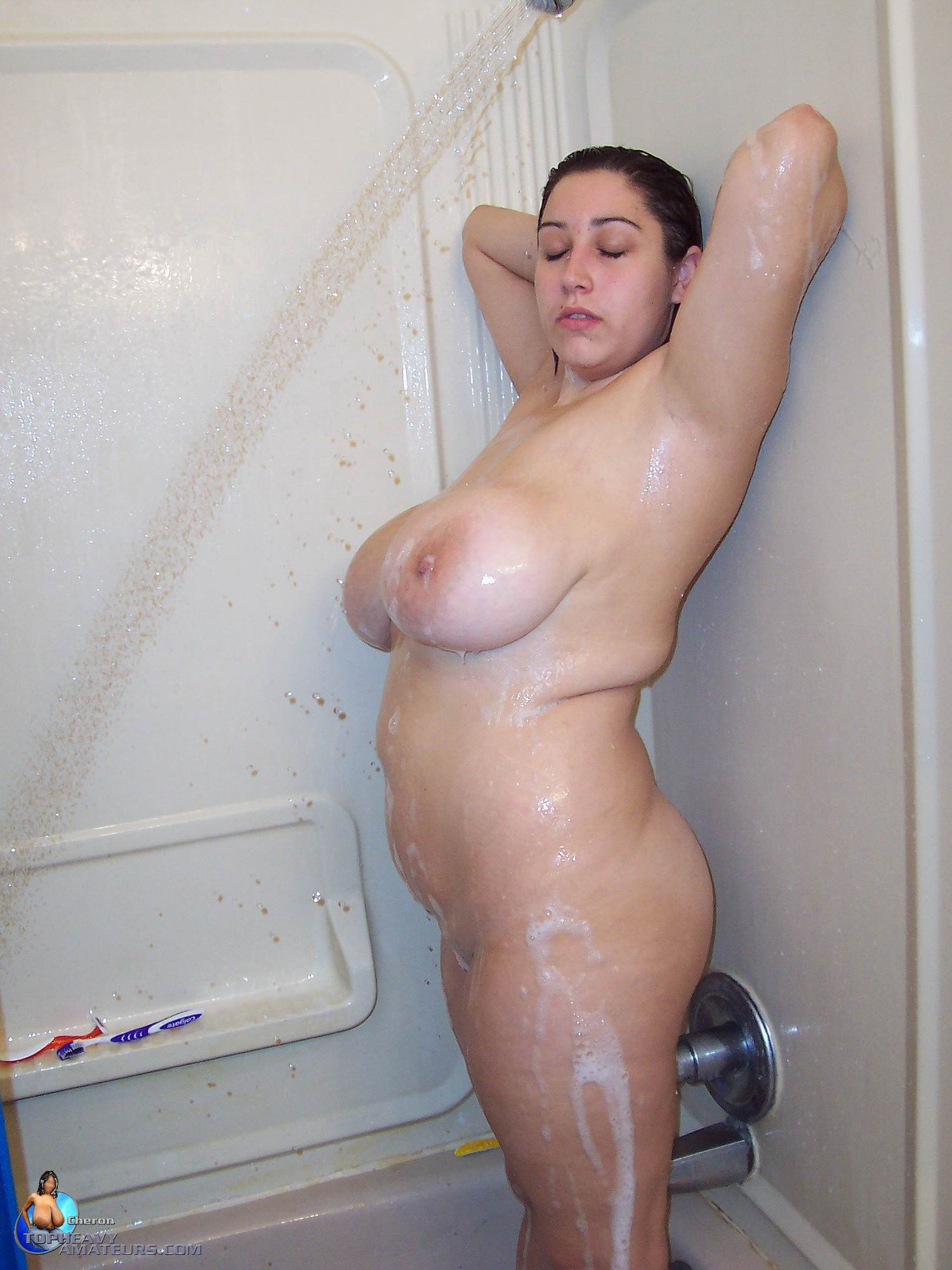 Valuable huge boobs shower chubby consider